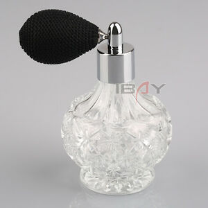 80ml Vintage Glass Clear Perfume Spray Bottle Atomizer Black Short Pump Gift