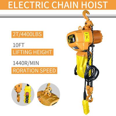 Electric Crane Hoist Super 2 Ton 10ft Lift Electric Chain Hoist 4400 Lb.