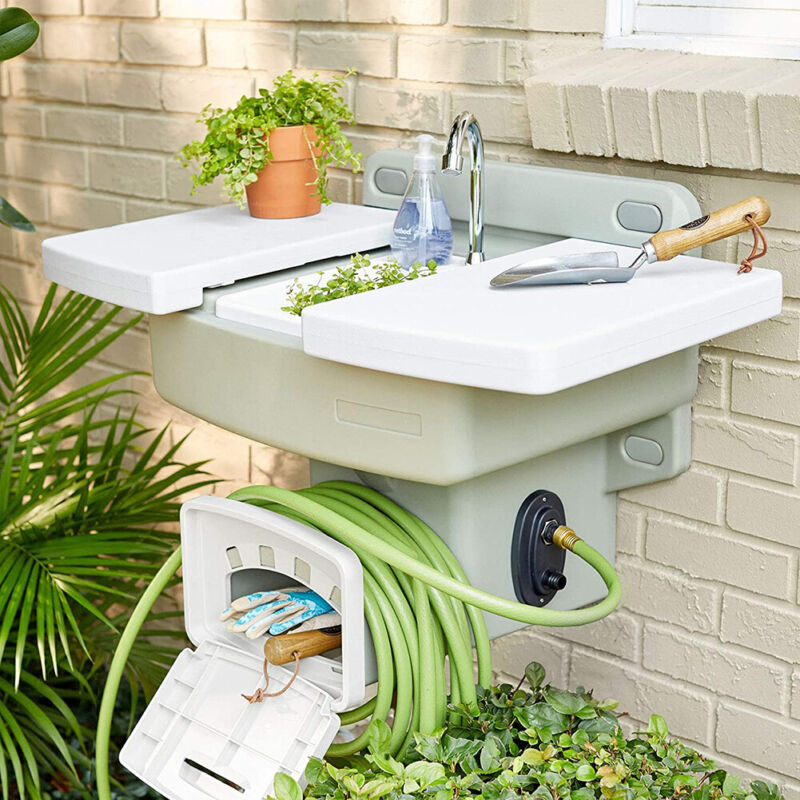NEW! Outdoor Wall Mounted Garden Sink - Hose Faucet - No Plumbing Required