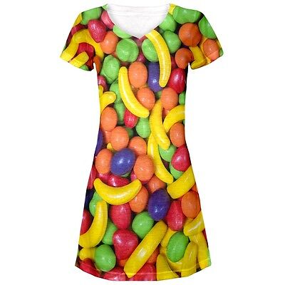 Candy Dresses For Halloween (Halloween Fruit Candy Juniors V-Neck Beach Cover-Up)