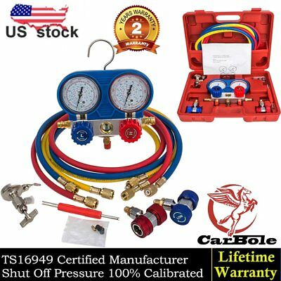 R134a Ac Manifold Gauge Set Refrigeration Brass Manometer Gauge System Test Kit