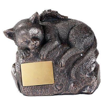 Pet Memorial Angel Cat Sleeping Cremation Urn Bronze Finish Bottom Load 30 Cubic