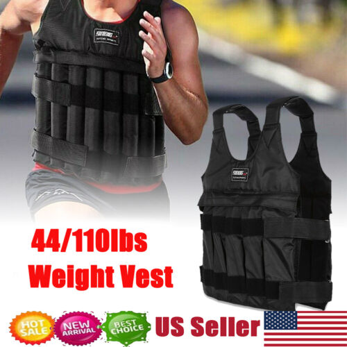 44/110LB Adjustable Workout Weighted Vest Exercise Strength