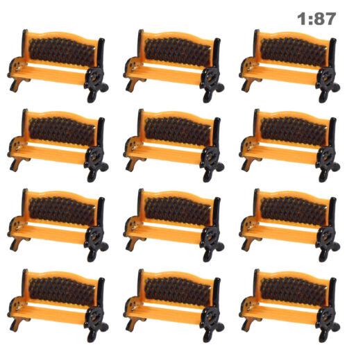 ZY36100OB 12pcs Model Train Platform Park Street Seat Bench Chair Settee 1:100TT