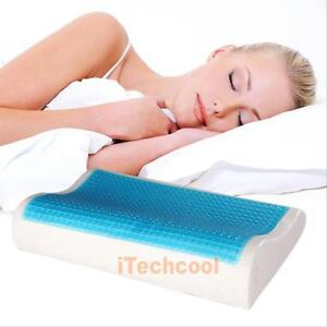 Memory foam pillow orthopedic head neck back support gel for Back and neck support for bed