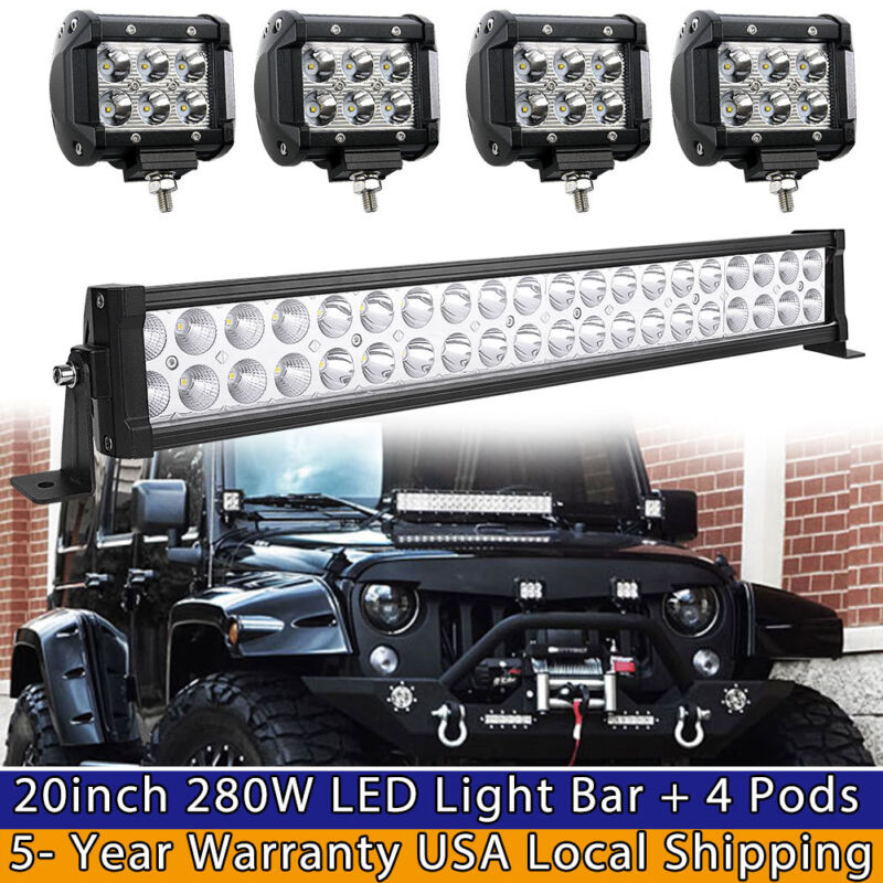 """24inch LED Light Bar Spot Flood Combo + 4x 4"""" Pods For Jeep"""