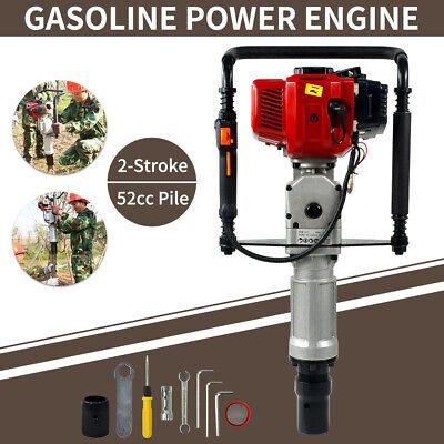 2 Stroke 52cc Gas Powered T Post Driver Pile Gasoline Engine Push Fence Farm