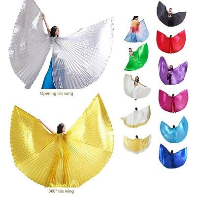 US Egyptian Egypt Belly Dance Costume Shining Isis Wings Dance Wear Solid Color - Belly Dance Costume