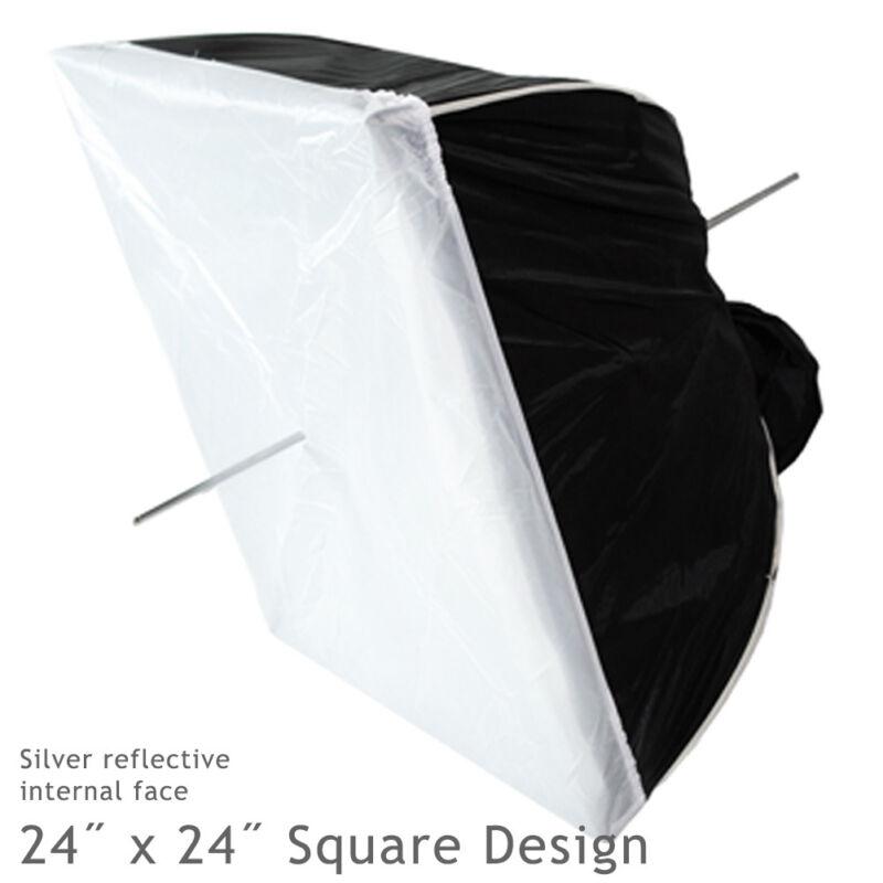 "24"" Silver Square Multifunctional Softbox Diffuser Reflector Photo Video Studio"
