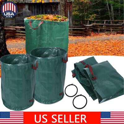 2xNatural Garden Waste Bag Collapsible Reusable Gardening Lawn Leaf Washing Bags - Lawn Leaf Bags