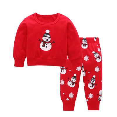 Baby Kinder Mädchen Jungen Weihnachten Kostüm Schneemann Oberteil Hose Outfit