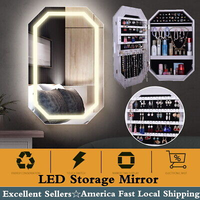 Wall Door Mounted Mirror Jewelry Cabinet Lockable Armoire Organizer w/ LED Light