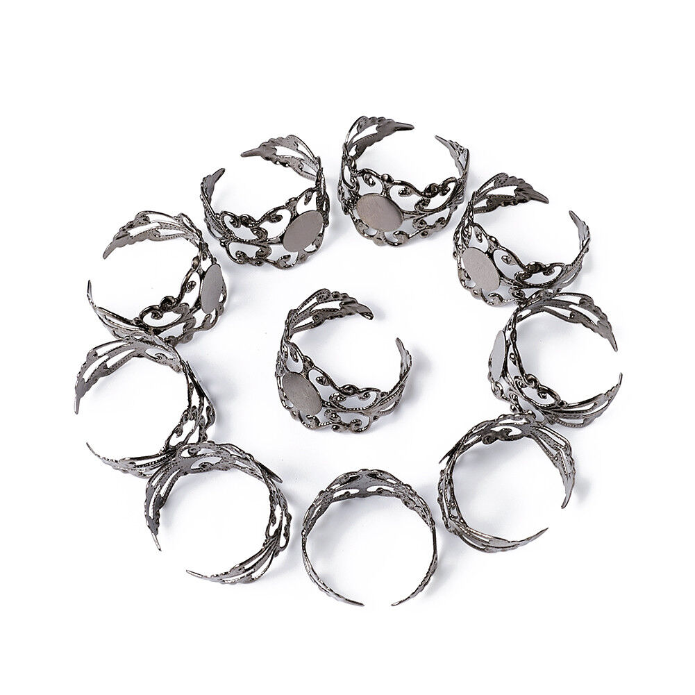 100 pcs of silver plated brass flower rings 8mm