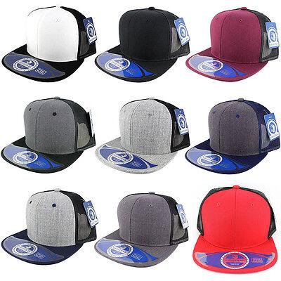 Wool Blend Mesh Snapback Adjustable Baseball Caps Trucker Men Hats Flat Bill  Mesh Wool Cap