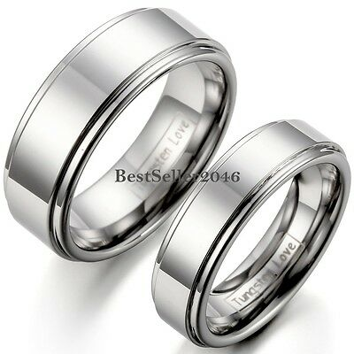 - Silver Polished Flat Ring Tungsten Carbide Men Women Comfort Fit Wedding Band