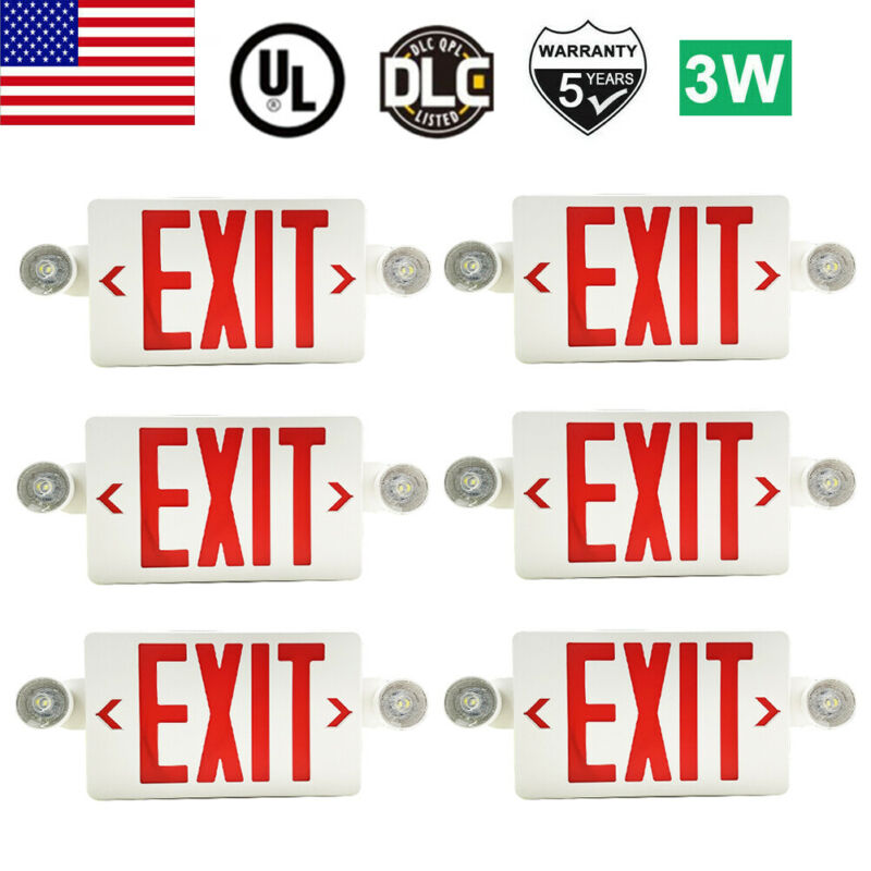 6 Pack LED Exit Sign Emergency Light – Hi Output Red Compact Combo UL-listed New