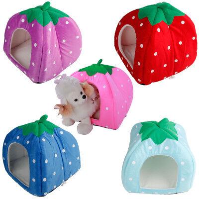 US Soft Strawberry Pet Dog Cat Bed House Kennel Doggy Warm Cushion Basket S M - Strawberry Baskets