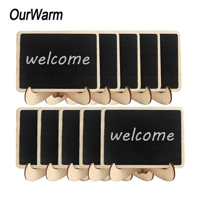 10xWooden Mini Chalkboard Place Card Wedding Blackboard Table Number Sign +Stand