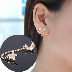 c7b90e45c 2x Moon and Star Earrings Chain Dangle Double Stud Huggie Wrap Climber Boho  Gold