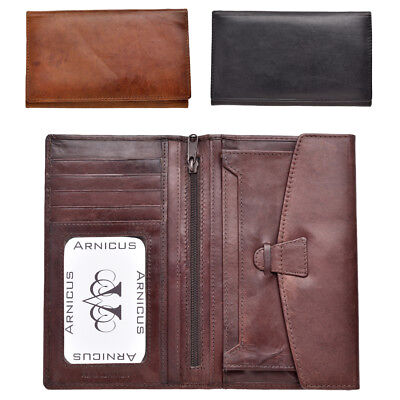 Mens Real Genuine Cow Calf Leather Long Jacket Wallet