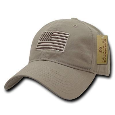 Khaki Tan USA US American Flag Patch United States America Polo Baseball Hat -