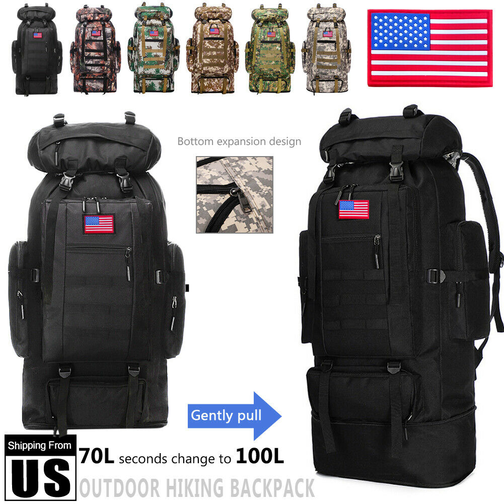 70L-100L Extra Large Hiking Military Tactical Backpack Rucksack Army Camping bag