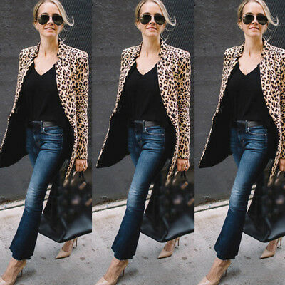 Leopard Jacket Women Sweater Top Warm Casual Winter Cardigan Long Sleeve Coat US