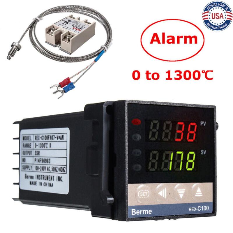 0-1300℃ Alarm REX-C100 Digital LED PID Temperature Controller Kits AC 110V-240V