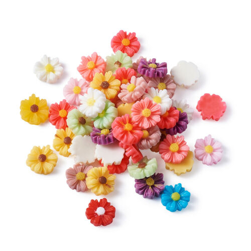50pcs Mixed Resin Flower Cabochons Craftds For DIY Jewelry Making Finding 9x8mm
