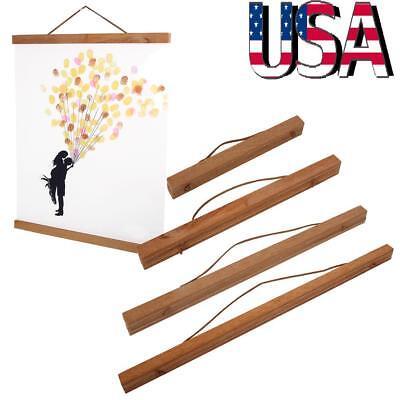 Living Room Magnetic Wooden Photo Frame Poster Scroll Print Artwork Hanger DIY (Photo Magnets Diy)