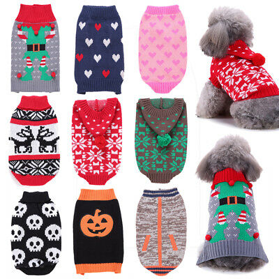 Christmas Pet Dog Cat Puppy Winter Sweater Jumper Knitted Coat Costume Clothes (Doggy Christmas)