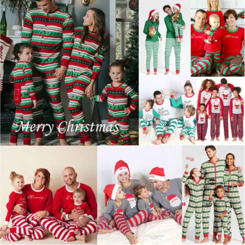 US Family Matching Christmas Pajamas PJs Xmas Sleepwear Nightwear Clothes Sets