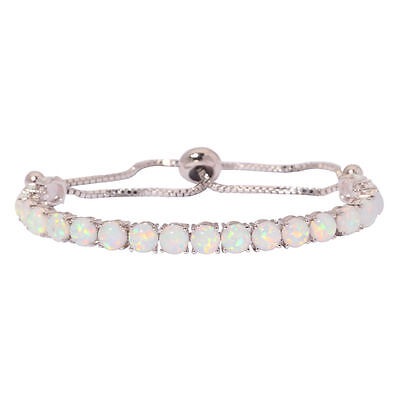 White Fire opal silver for Women Fashion Jewelry Gemstone Chain Bracelet OS411