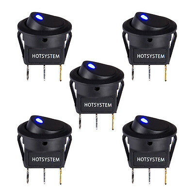 5pcs Hotsystem Led Dot Light 12v Car Boat Round Rocker Onoff Toggle Spst Switch