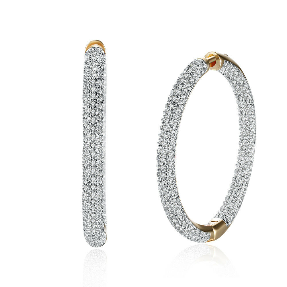 Round Hoop Earrings 18k Gold Plated Made with Swarovski Crystals