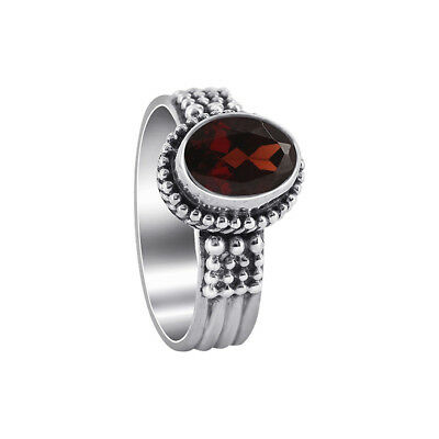 Gemstone Oval Ring - 925 Sterling Silver Oval Garnet Gemstone Solitaire Ring Size 5 - 10
