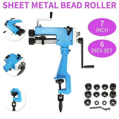Sheet Metal Bead Roller Steel Gear Drive Bench Mount 22-gauge Capacity W 6 Dies