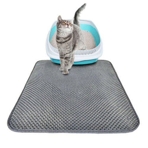 Grey Waterproof Double-Layer Cat Litter Mat Trapper Foldable Pad Pet Rug 3 Size
