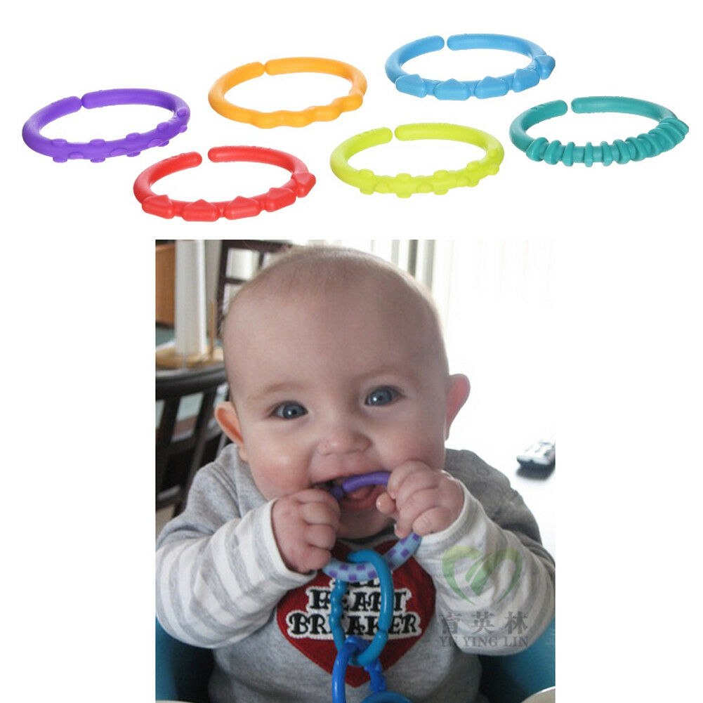 Kid bracelet Rainbow Teether Ring Links Plastic Baby Kids Infant Stroller 6pcs