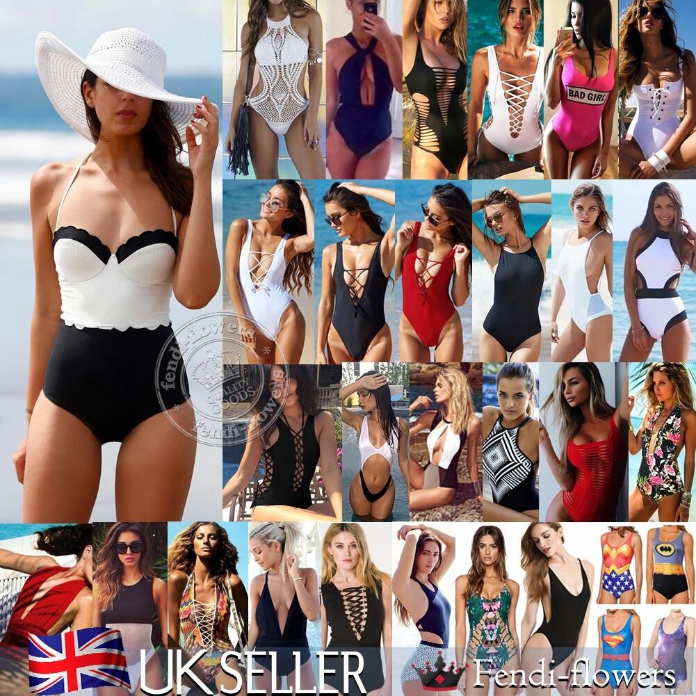 UK Sexy Womens One-Piece Swimwear Push Up Monokini Bikini Beach Padded Swimsuit