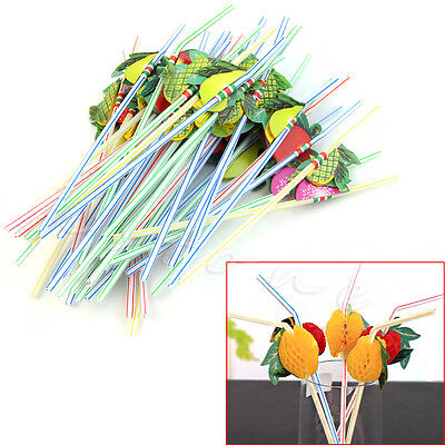 3D Fruit Umbrella Cocktail Drinking Straw 50 Pcs Party BBQ Hawaiian Theme Decor - Umbrella Drink