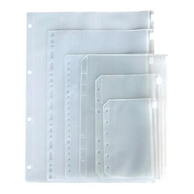 12pcs Zipper Binder Pockets Folders Pouch Document Filing Bags A5 A6 A7 Size