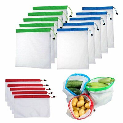 5Pcs Reusable Mesh Produce Bags Washable Eco Friendly Shopping Fruit Storage (Eco Friendly Reusable Bags)