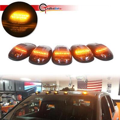 5pc Universal Smoke Cab Roof Amber LED Lights Assemblies For Dodge Nissan Trucks