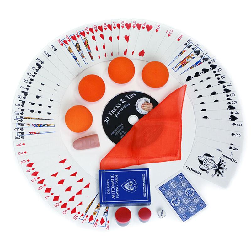Magic Makers 100+ Orange Tricks Kit Delands Deck Sponge Balls Silk Thumb Two