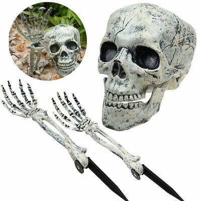 Halloween 3-teiliges Grusel-Skelett Totenschädel Garten Hof Rasen Dekoration