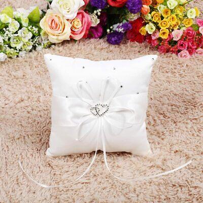 New White Double Heart Rhinestone Crystal Ring Bearer Pillow Wedding Ceremony US