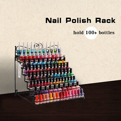 8-Tier Metal Nail Polish Rack Black Organizer Display Stand Hold to 120 Bottles for sale  Brea