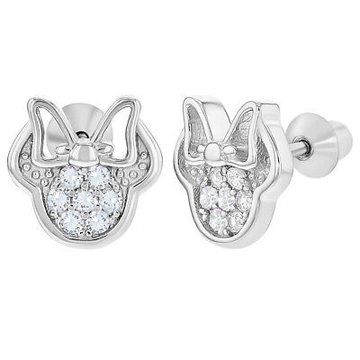 925 Sterling Silver Clear CZ Mouse Bow Screw Back Earrings for Children