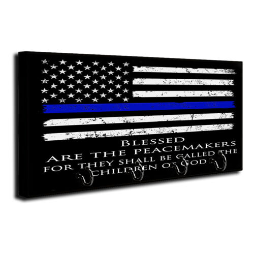 Thin Blue Line Flag Blessed Are The Peacemakers Dog Leash and Key Hanger